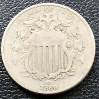 1869 Shield Nickel 5c Better Grade Die Break #28828