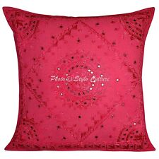 Boho Hand Embroidered Throw Pillow Cover 24x24 Indian Cotton Pillowcase 60x60 cm