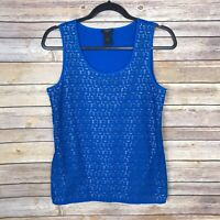 Ann Taylor Factory Womens Small Lace Overlay Scoop Neck Tank Top Blue Cami