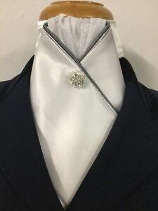 HHD Custom White Satin Stock Tie With Grey & Silver Piping Rhinestone Stock Pin