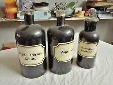 Lot de 3 anciens bocaux de pharmacie peints (pour l'opacité) complets et bel éta
