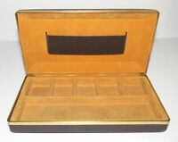 Vintage Brown Hard Case Jewelry Travel Organizer Box Hinged