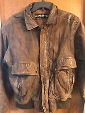 U2 Wear Me Out Genuine Brown Leather Flight Bomber Men's Jacket Size 38