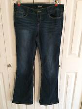 Rewash Women's Flare Leg Dark Blue Denim Jeans Purple Rhinestone Pockets Size 13
