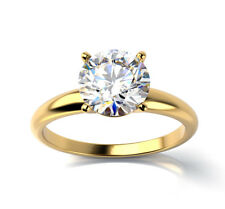 1.02 ct VS1D Natural Diamond Round Solitaire Engagement Ring 18K Yellow Gold