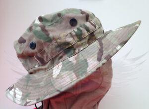 UK British Army Surplus Issue MTP Camo Bush Hat, Brimmed Camouflage Boonie Cap