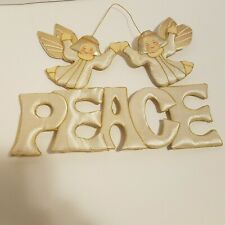 Christmas Wall Hanging Angels Peace Sign Gold White Decoration