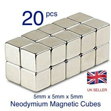 20 Strong Magnets ( 5mm Cube ) Neodymium 1.1Kg Pull Rare Earth Block Magnetic.