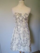 American Eagle Outfitters Ivory/Silver Gray Print Strapless Mini Dress EUC SZ: 8