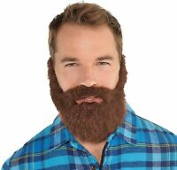 Brown Lumberjack Facial Hair Set Adult Manly Thick Brown Beard Moustache Guy