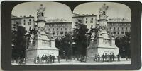 Genova Di fronte la Monumento Cristoforo Colombo Fotografia Stereo Vintage