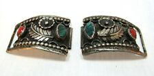 Vintage Turquoise & Coral Sterling Silver watch band cuff