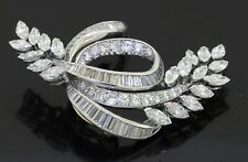 Heavy Platinum amazing 6.90CTW VS1/F diamond cluster floral ribbon brooch