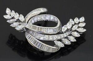 Heavy Platinum amazing 6.90CTW VS1/F diamond cluster floral ribbon brooch