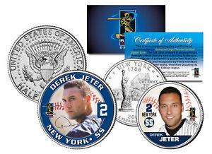 DEREK JETER Colorized New York Quarter & JFK Kennedy Half Dollar U.S. 2-Coin Set
