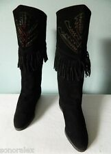 VINTAGE Très jolies bottes indiennes CUIR daim noir franges NIKAÏ 37 TBE