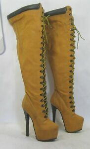 "Tan 6.5""Stiletto Heel 2.5""Platform Over Knee Sexy Boot  women Size 6"