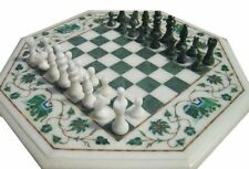 "12"" Chess Table Top Marble malachite Inlay Home Decor & Gift"