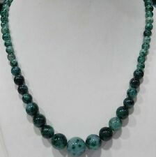 "NEW 6-14MM GREEN EMERALD ROUND BEADS NECKLACE 18"" PN214"