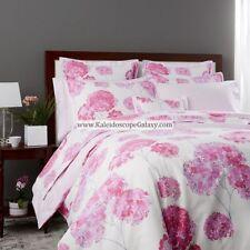 Anne De Solene ~ HORTENSIA FLAT SHEET ~ PINK FLOWERS GRAY PINK FLORAL