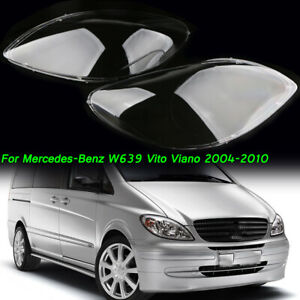 For Mercedes Benz Vito/Viano (W639) 2004-2010 Front Headlight Lens Cover Pair