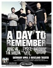 A DAY TO REMEMBER 2011 Gig POSTER Portland Oregon Concert