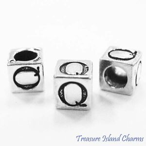 Letter Q 925 Solid Sterling Silver Alphabet 7mm Block Bead 5mm Hole Diameter