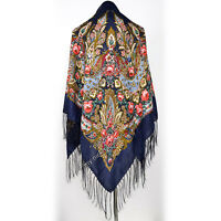 RUSSIAN PAVLOVO POSAD  WOOLEN SHAWL WRAP 140x140cm. SCARVES KERCHIEF WITH FRINGE