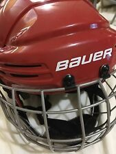 YOUTH BAUER ICE HOCKEY HELMET SZ JUNIOR W CAGE FACE MASK RED
