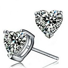 Silver Rhodium Plated Women Bridal Wedding Crystals Heart Stud Earring IE88