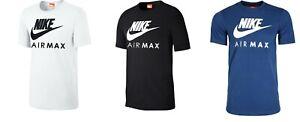 Nike Air Max T-Shirt Weiß Schwarz Blau Herren Fitness Freizeit Sport