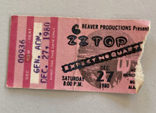 Zz Top Rick Derringer Rare Concert Ticket Stub Mobile, Al 12/27/1980