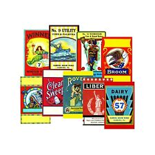 ADVERTISING BROOM SIGNS, 9 Retro Stickers, 1 Sheet, Scrapbook & Junk Journals