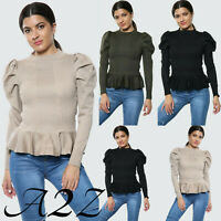 Women's Frilled Puff Long Sleeve Fashion Casual Tee T-Shirt Ladies Jumper Top UK