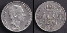 1881 Spanish Philippine ALFONSO XII 10 Centimos Silver Coin