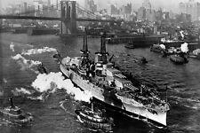 New 5x7 Navy Photo: USS ARIZONA on East River in New York City, Christmas