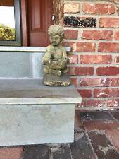 Antique Cast Stone or Cement Child Cherub Garden Statue Bird Feeder