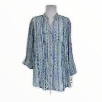Alfred Dunner NWT Women's 16W 1X Button Down Blouse Striped V-Neck 3/4 Sleeves