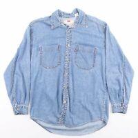 Vintage LEVI'S Blue Plain Casual Denim Shirt Men's Size Medium