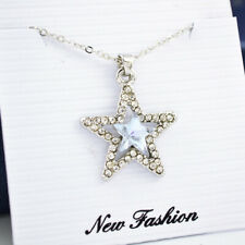 Women Crystal Rhinestone Five-pointed star Silver Chain Pendant Choker Necklace