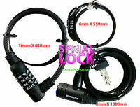 STEEL CABLE COMBINATION LOCK KEY LOCKS SPIRAL BIKE CHAIN