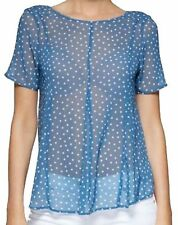 NEXT LADIES BLUE STAR SWING CHIFFON TOP BLOUSE 8 RRP £25 NEW WITH TAGS **