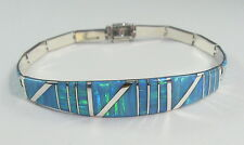 ".950 silver light blue opal bracelet with long curved centerpiece 8"" long"