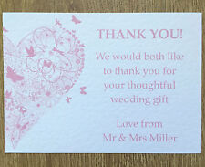 25 Personalised Wedding Thank you cards - vintage butterfly handmade + envelopes