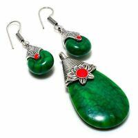 "Amazing Green Turquoise, Coral Handmade Ethnic Style Jewelry Pendant Set  2.30"""