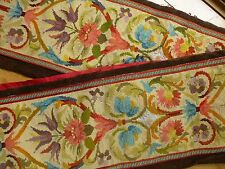 Antique FRENCH hand embroidered needlepoint panel pelmet - 280cm long