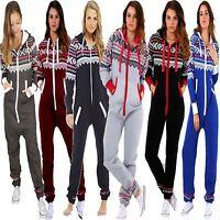 New Ladies Womens Hooded ZIP UP Aztec PRINT Onesie ALL IN ONE Jumpsuit Playsuit