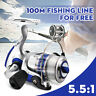 US SL1000-7000 Spinning Fishing Reel Metal Spool Folding Arm Gear Ratio 5.5:1