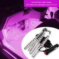 4x12LED Pink 12V Car Interior Light Atmosphere Decorative Light Neon Lamp Strips