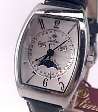 Justina 12583 Vintage Watch Quartz Day Date Moon Phase Moon Phase 36 mm 3WC